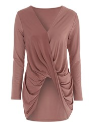 Jane Norman Slinky Drape Front Top Gold