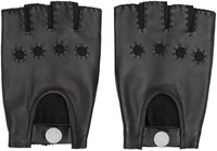 Marc By Marc Jacobs Black Leather And Knit Fingerless Gloves