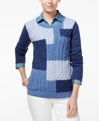 Tommy Hilfiger Carly Colorblocked Cable Knit Sweater Indigo