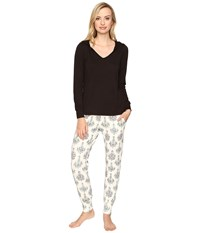 Bedhead French Terry Long Sleeve Hoodie And Jogger Pants Set Chandelier Damask Women's Pajama Sets Black