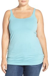 Plus Size Women's Sejour New Slim Strap Tank Teal Water