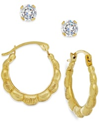 Macy's Cubic Zirconia And Ribbed Hoop Earring Set In 10K Gold