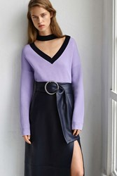 Boutique Contrast V Choker Neck Jumper By Lilac