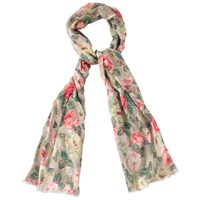 Cath Kidston Forest Rose Scarf Taupe Pink