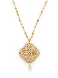 Azaara 22K Yellow Gold Plated Filigree Pendant Necklace