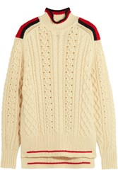 Isabel Marant Edison Oversized Cable Knit Wool Blend Sweater Ecru