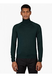 Jil Sander Green Wool And Silk Turtleneck