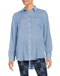 Free People That's A Wrap Oversized Oxford Shirt Blue