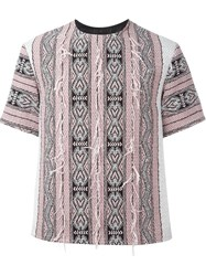 Ports 1961 Ethnic Embroidered Shortsleeved Top Pink And Purple