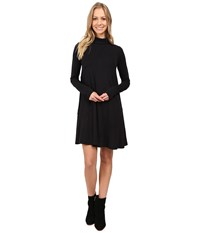 Mod O Doc Cotton Modal Spandex Jersey Seamed Funnel Neck Swing Dress Black Women's Dress