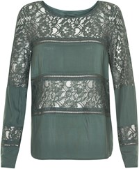 Soaked In Luxury Paneled Lace Top Green