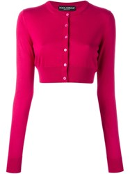 Dolce And Gabbana Cropped Cardigan Pink And Purple