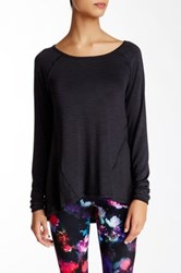 Betsey Johnson Sheer Long Raglan Sleeve Tee Black