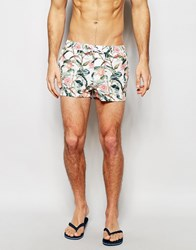 Asos Short Length Swim Shorts With Tropical Floral Print Multi
