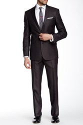 Kenneth Cole Reaction Woven Two Button Notch Lapel Suit Brown