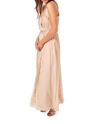 Miss Selfridge Lace Pleated Maxi Dress Pink