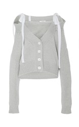 Adeam Light Grey Chunky Off The Shoulder Cardigan