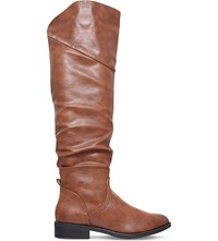 Miss Kg Willa Ruched Knee High Boots Tan