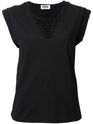Sonia Rykiel By Lace Up V Neck Blouse Black