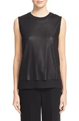Vince Women's Sleeveless Mesh Overlay Blouse Black