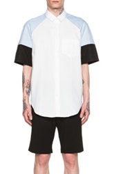 Carven Colorblock Short Sleeve Shirt In Blue White