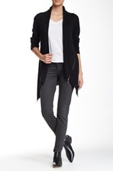 Cullen Side Zip Open Drape Cashmere Cardigan Black