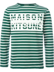 Maison Kitsuna Striped Sweatshirt Green