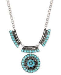 Macy's Silver Tone Turquoise Look Beaded Ornate Statement Necklace