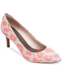 Rockport Women's Total Motion Pointed Toe Pumps Women's Shoes Pink Leo Canvas