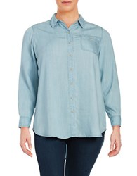 Lord And Taylor Plus Roll Tab Chambray Blouse Ice Wash