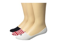 Sperry Thin Stripe Mid Vamp Liner 3 Pair Pack Tomato Women's Crew Cut Socks Shoes Red