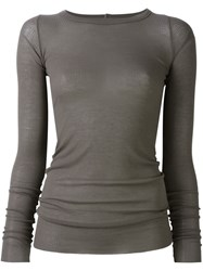 Rick Owens Round Neck T Shirt Grey