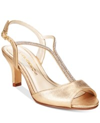 Caparros Delicia T Strap Evening Sandals Women's Shoes Gold Metallic Satin