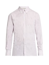 Brunello Cucinelli Striped Button Down Collar Cotton Poplin Shirt Pink White