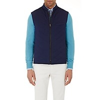 Luciano Barbera Men's Reversible Channel Quilted Vest Navy