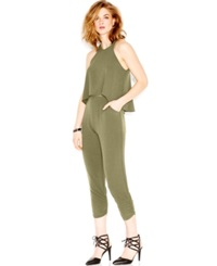 Bar Iii Tapered Popover Jumpsuit Olive
