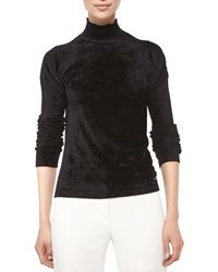Escada Mock Neck Long Sleeve Velvet Top Black