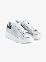Alexander Mcqueen Metallic Leather Trainers With Purple Leather Trim Silver Navy Purple White