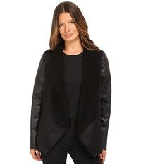 The Kooples Gilet In Faux Treated Sheepskin With Faux Leather On Sleeves Black