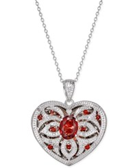 Macy's Garnet 2 Ct. T.W. And Diamond 1 10 Ct. T.W. Locket Pendant Necklace Sterling Silver