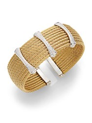 Alor Diamond 18K Yellow Gold And Stainless Steel Cuff Bracelet