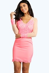 Boohoo Boutique Eyelash Lace Mesh Insert Bodycon Coral