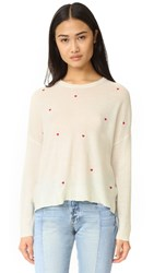 Sundry Little Hearts Crew Neck Sweater Ivory