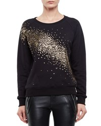 Saint Laurent Sequin Dusted Cotton Sweatshirt Black