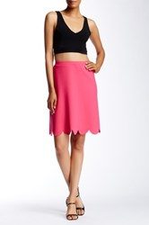 Spense Scuba Scallop Hem Skirt Pink