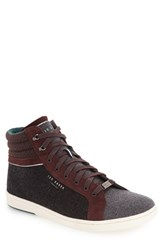 Ted Baker Men's London 'Tyroen' High Top Sneaker Dark Red