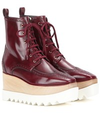 Stella Mccartney Elyse Brogue Platform Boots Red