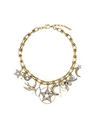 Marc Jacobs Crystal Charm Necklace Metallic