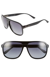Men's Gucci 59Mm Aviator Sunglasses Shiny Black Grey Gradient