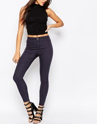 Asos Rivington High Waisted Denim Jeggings In Ink Grey Wash Grey